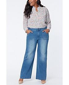 Plus Size Utility Pocket Wide Leg Trouser Jeans