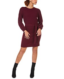 Belted Balloon-Sleeve Sweater Dress