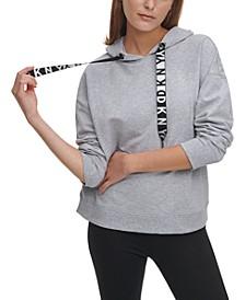 Metallic-Logo Drawstring Hoodie
