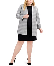 Plus Size Plaid Tweed Jacket Dress Suit