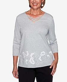 Women's Missy Glacier Lake Border Floral Embroidery Top