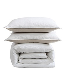 Washed Cotton Full/Queen Duvet Cover Set, 3 Piece