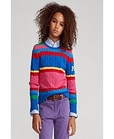 Big Girls Striped Cable-Knit Sweater