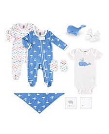 PSP Baby Boy 10 Piece Whale Pattern Hanging Gift Set