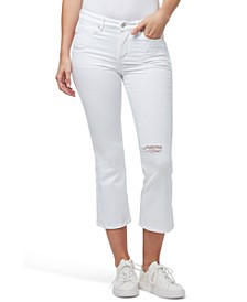 Destructed Slim Bootcut Cropped Jeans