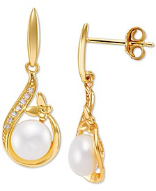 Cultured Freshwater Pearl (7mm) & Cubic Zirconia Butterfly Drop Earrings, Created for Macy's