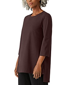 Jewel-Neck Asymmetrical Tunic Top