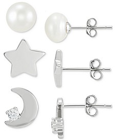 3-Pc. Set Cultured Freshwater Pearl (7mm) & Cubic Zirconia Celestial Themed Stud Earrings in Sterling Silver, Created for Macy's