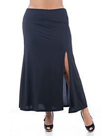 Women's Plus Size Side Slit Ankle Length Maxi Skirt