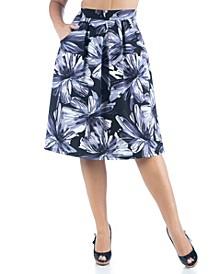Women's Plus Size Floral Print Knee Length Pocket Skirt