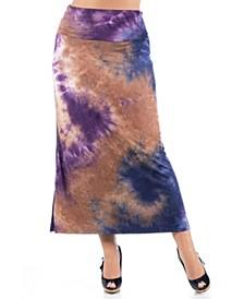 Women's Plus Size Tie Dye Print Foldover Maxi Skirt