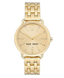 Women's Crystal Accented Gold-Tone Bracelet Watch, 36mm