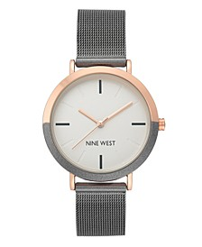 Women's Rose Gold-Tone and Grey Mesh Bracelet Watch, 36mm