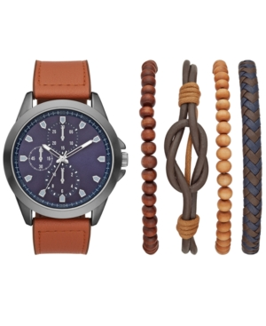 Men's Brown Faux Leather Strap Watch 48mm Gift Set