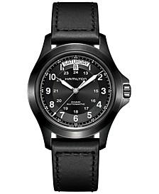 Men's Swiss Automatic Khaki Field King Black Leather Strap Watch 40mm