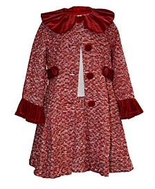 Toddler Girls Tweed Collared Coat Dress