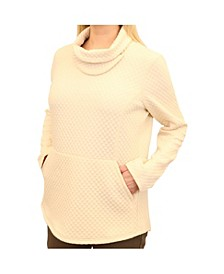Women's Diamond Quilted Slit Cowl Neck Pullover with Diamond-Quilted Detail