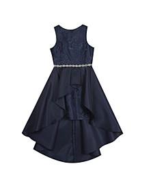 Big Girl Embroidered Mesh Dress With Mikado Asymmetrical Overlay