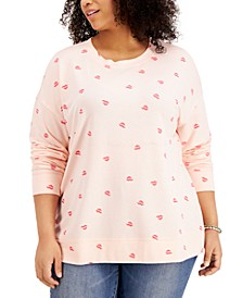 Plus Size Lip Print Sweatshirt, Created for Macy's