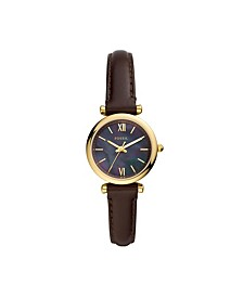 Women's Carlie Mini Gold-Tone Brown Leather Strap Watch 28mm