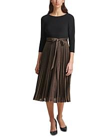 Layered-Look Pleated Midi Dress