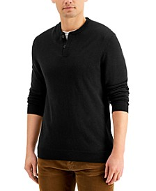 Men's Merino Solid Henley Sweater, Created for Macy's