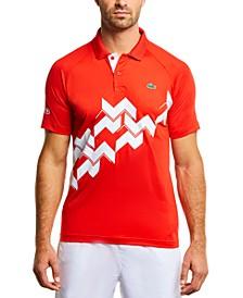 Men's SPORT Novak Djokovic On-Court Short Sleeve Polo Shirt with Diagonal Geometric Print