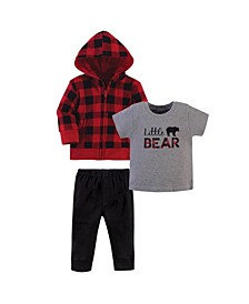 Toddler Boys and Girls 3 Piece Hoodie, Tee Top and Pant Set