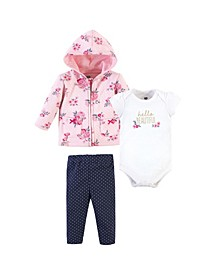Baby Boys and Girls 3 Piece Premium Quilted Hoodie, Bodysuit and Pant Set