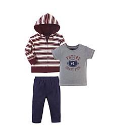 Toddler Boys 3 Piece Cotton Hoodie, Tee Top and Pant Set