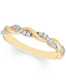 Diamond Braided Band (1/6 ct. t.w.) Available in 10k Gold , 10k White Gold or 10k Rose Gold