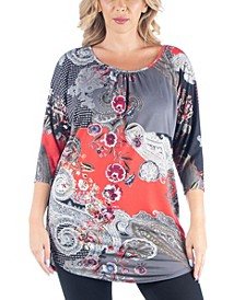 Women's Plus Size Three Quarter Sleeves Long Tunic Top