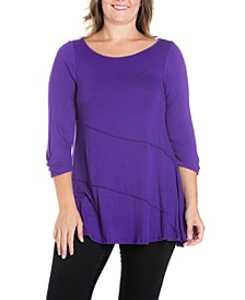 Women's Plus Size Ruched Sleeves Swing Tunic Top