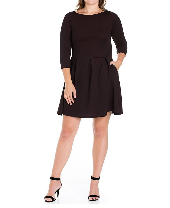 24seven Comfort Apparel Women's Plus Size Perfect Fit and Flare Dress