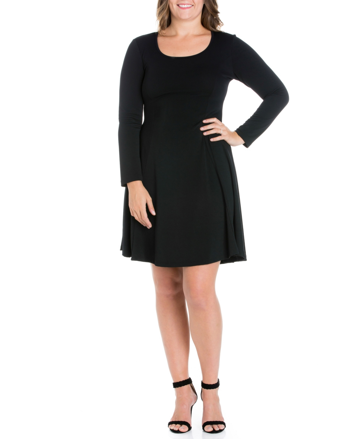 Womens Plus Size Fit and Flare Skater Dress