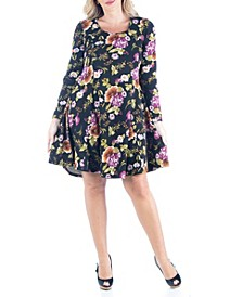 Women's Plus Size Floral Print Fit and Flare Skater Dress