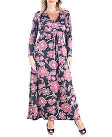 Women's Plus Size Classic Floral Print Maxi Dress