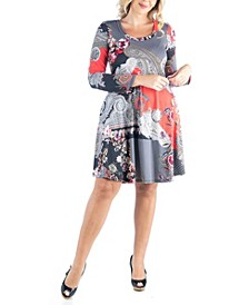 Women's Plus Size Paisley Print Flared Dress