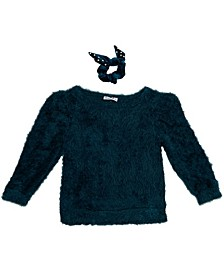 Beautess Girls Fuzzy Crew Neck Sweater with Matching Scrunchie