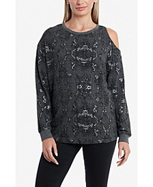 Cold Shoulder Foil Print Cozy Pullover