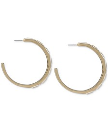 Gold-Tone Medium Crystal Front C-Hoop Earrings, 2""