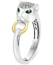 EFFY® Diamond (1/5 ct. t.w.) & Tsavorite Accent Panther Statement Ring in Sterling Silver & 18k Gold-Plate