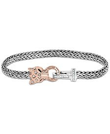 EFFY® Diamond (1/4 ct. t.w.) & Tsavorite Accent Panther Mesh Bracelet in Sterling Silver & 14k Rose Gold-Plate