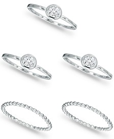 5-Pc. Set Cubic Zirconia Bezel Cluster & Beaded Stack Rings in Sterling Silver, Created for Macy's