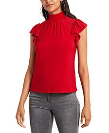 1.STATE Trendy Plus Size Mock-Neck Flutter-Sleeve Top