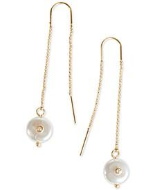 Gold-Tone Pavé & Imitation Pearl Chain Threader Earrings
