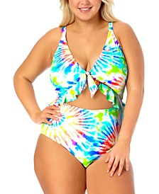 California Waves Trendy Plus Size Tie-Dyed Cutout One-Piece Swimsuit, Created for Macy's