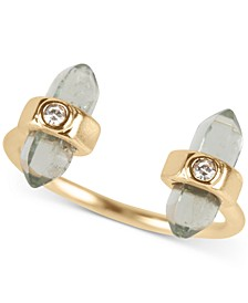 Gold-Tone Pavé Wrapped Stone Open Ring
