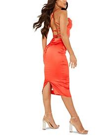 Lace-Up-Back Cowlneck Dress