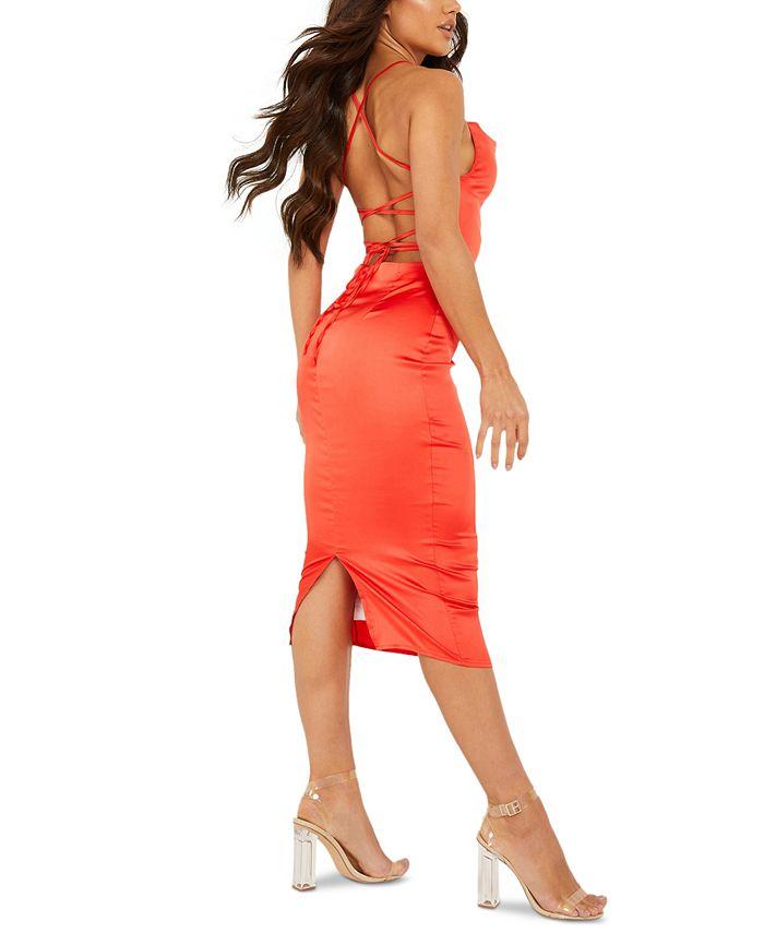 QUIZ - Lace-Up-Back Cowlneck Dress